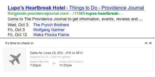 screenshots of schema rich snippets in google results page